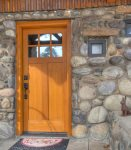 Durango Colorado vacation rental cabin home The Rock House front door and native stone