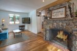 Durango Rock House vacation rental home cabin Colorado original rock fireplace in living room