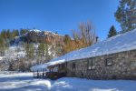 Snowy mountain views from Durango Rock House vacation rental home