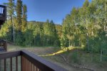 Balcony mountain views from Durango Colorado vacation rental condo near Purgatory Resort at Cascade Village