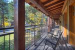 Covered porch at Durango Colorado vacation rental condo at Tamarron Golf Resort