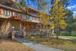 Front entry of Durango Colorado vacation rental condo at Tamarron Golf Resort