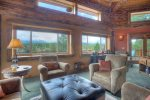 Durango Colorado luxury vacation rental log cabin home main deck and balcony