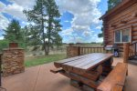 Durango Colorado luxury vacation rental log cabin home outdoor dining patio