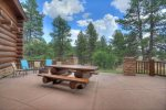 Outdoor dining patio at Elk Mountain Retreat luxury vacation rental home in Durango Colorado