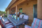 Formal dining outdoors at Durango Colorado luxury vacation rental home