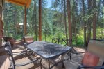 Outdoor dining at Creekside Retreat vacation rental home in Durango Colorado