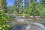 Fishing river island at Creekside Retreat vacation rental home in Durango Colorado