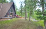Shaded lawn at Alpine View vacation rental cabin Durango Colorado