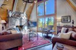 Living room in Durango Colorado vacation rental luxury cabin