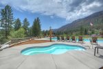 Outdoor hot tub Tamarron Lodge vacation rental condo Durango Colorado
