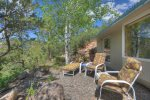Patio with views at Valley View Retreat vacation rental home Durango Colorado
