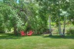 Lawn and garden at Big Blue House vacation rental home in Durango Colorado