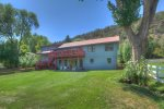 Front lawn at Durango Colorado vacation rental home know as Big Blue House