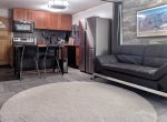 Living room with sleeper sofa in Durango Colorado vacation rental ski condo