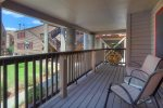 Covered private balcony Ferringway Condominiums vacation rental in Durango Colorado