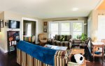 An open concept living space allows the living room, dining room and kitchen to be open to each other.