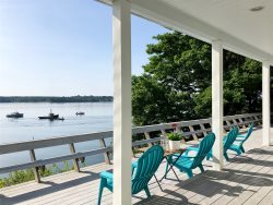 Spacious home on the shore of Harpswell Sound, beautiful ocean views and a large deck to enjoy the outside.