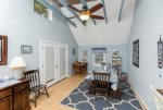 The huge Dining Area offers seating for everyone and gorgeous pale blue walls.