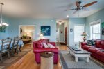 Nautical Reds and Sky Blue highlight this gorgeous Living Area.