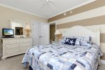 Bedroom 3 has a comfy Queen and very cool Coastal Stripes.