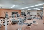 No need to fight those extra vacation pounds with this Fitness Center.
