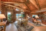 Open floor plan with vaulted ceilings, log home with gorgeous views