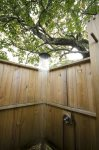 The brand new outdoor rain shower with full hot/cold capability
