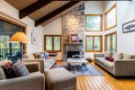 Wonderful vaulted living space with beautiful woodwork