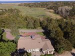 Aerial of house and Pochet Marsh, Nauset Beach, the Atlantic
