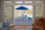 French Doors open up to the deck with water views of Crystal Lake