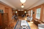 Pool House Dining/ living room- Big barn doors open to driveway