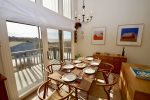 Enjoy bay views from the dining area or step outside onto the deck