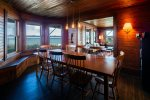 Galley kitchen opens into dining room