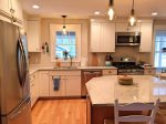 Gorgeous kitchen with plenty of room for meal prep or sitting to chat