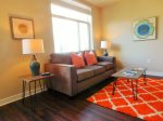 This Junior 1 Bedroom apartment features bright, nature-inspired decor for a cheery atmosphere.