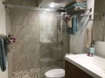 Newly remodeled bath, tiled walk-in shower