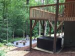 Hot tub offers privacy in beautiful, wooded backyard