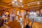Beautiful wooden dining room table in open area