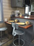 2 bar stools at Breakfast Bar to share meals
