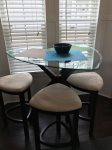 High top table and padded stools at Breakfast Nook