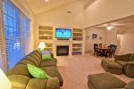 Great Room w Cathedral Ceilings and Xtra Large HDTV