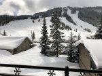 Winter view from balcony of Alpine ski area