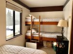 Bedroom bunks and view of Nordic trail