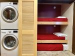 Twin bunk beds and second twin trundle, washer and dryer