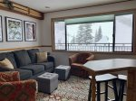 Living area from kitchen, view of Alpine ski area