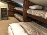 Loft with queen bed and three twin bunks