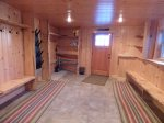 Oversized Mudroom for Ski Storage with walk out to Hot Tub