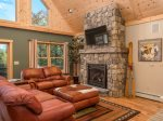 Great Room with gas fireplace and hardwood floors