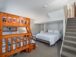 Queen size bed and set of bunks